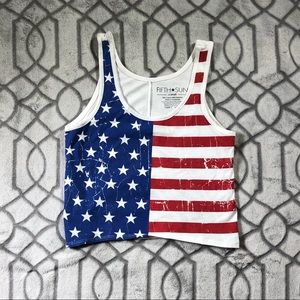 American Flag Fifth Sun Cropped Tank Top Size XS